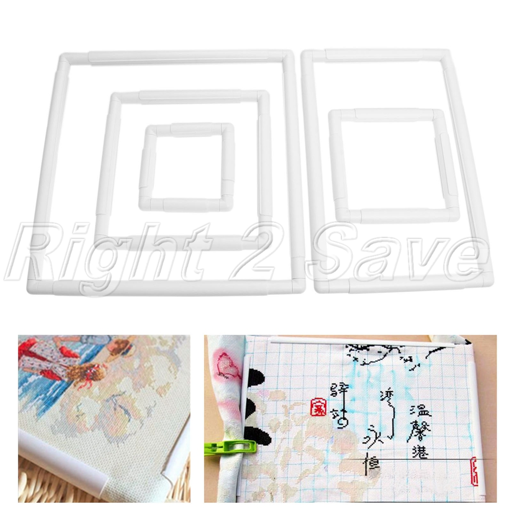 Plastic Square Rectangle Clip Embroidery Frame Cross Stitch Hoop DIY ...